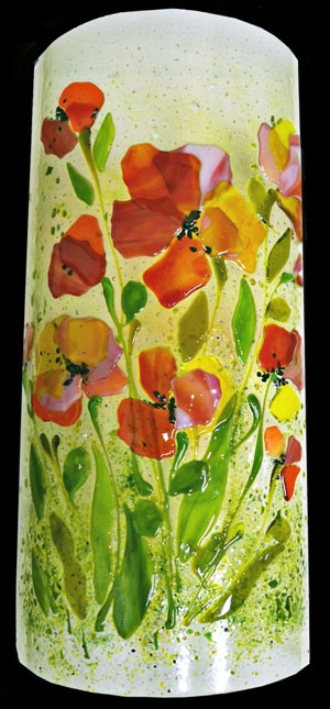 fused glass poppies - holy cow, murals and all