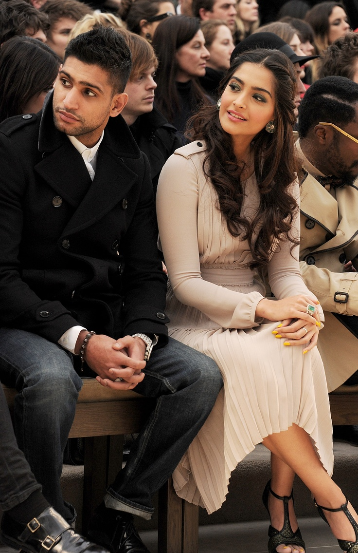 Amir Khan and Sonam Kapoor wearing Burberry at the Burberry Prorsum Womenswear Autumn/Winter 2012 show #LFW