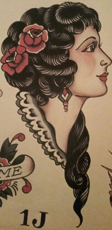 Traditional/old school tattoo, sailor jerry, portrait, woman, pin-up