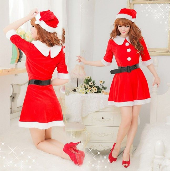 $19.25  Sweet Red Christmas Dress Adult Women's Santa Costume