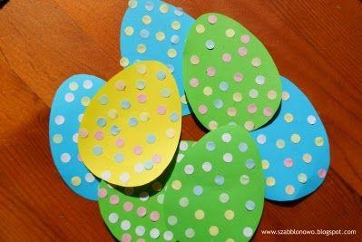 szabblonowo: Wielkanocne zawieszki. Ozdoby na piku. Dekoracja za pomocą konfetti.