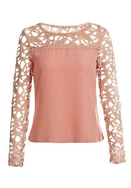 Neutral Pink Crochet Shoulder Top