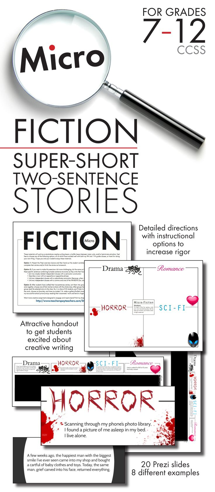 Micro Fiction – Flash Fiction – Two-Sentence Stories – Sudden Fiction – Twitter Tales Whatever you want to call them, super-short stories are a super-fun way to spend a single class period, as you introduce your secondary English classes to the idea that an entire story can exist within just two sentences.