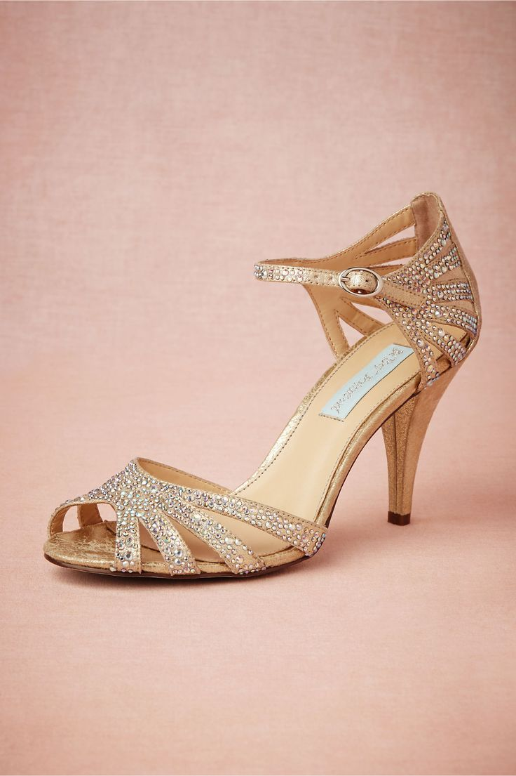 Champagne Sparkle Heels in Shoes & Accessories Shoes at BHLDN