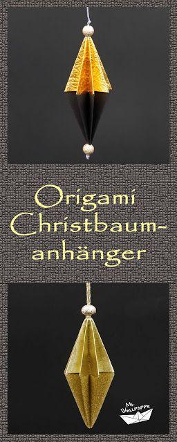 Origami Anhänger falten - Christbaumschmuck basteln mit Papier zu Weihnachten - Origami Weihnachtsdeko selber basteln