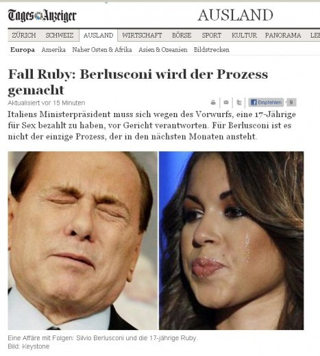 16/2/2011. Il rinvio a giudizio di Berlusconi per le note vicende di prostituzione e concussione occupa le prime pagine dei principali siti e giornali stranieri.