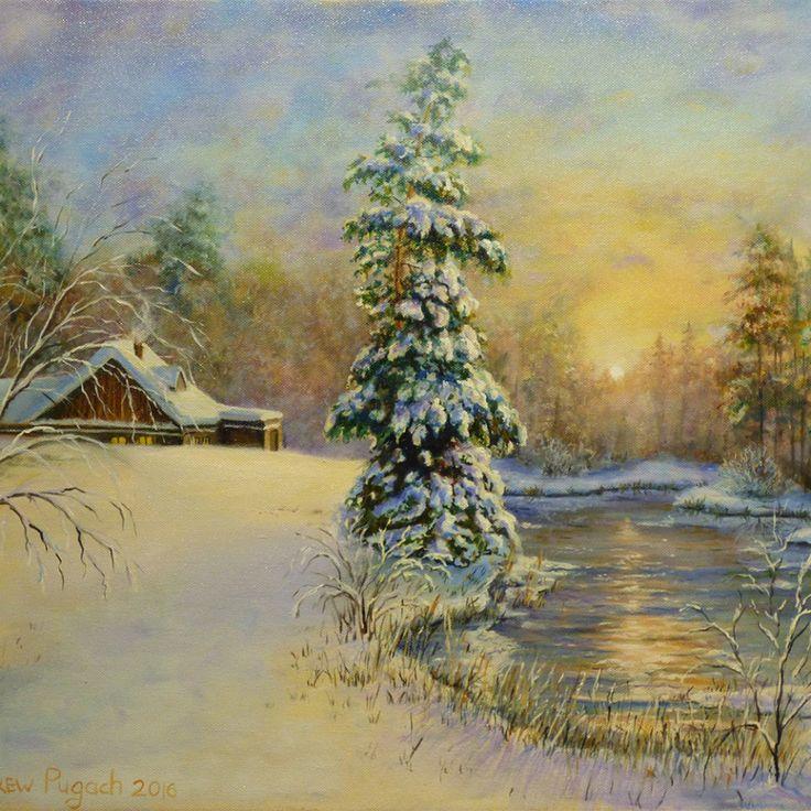 Картина 50х60 «Зимний закат» | Andrew Pugach