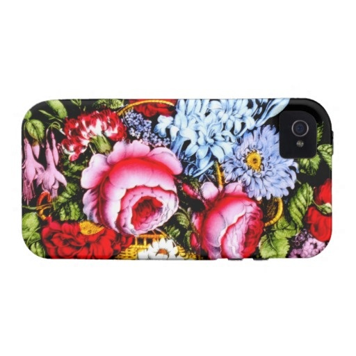 Beautiful Flower Basket Roses ~ Vintage Fine Art iPhone 4 Cases