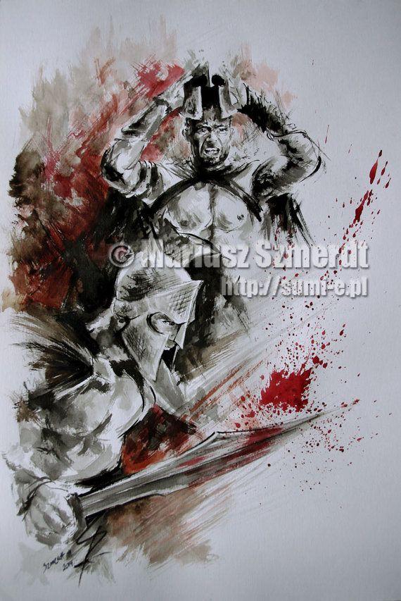 300 Samurai paintings - spartan artwork for sale. https://www.etsy.com/listing/186537331/300-spartan-painting-spartan-armor? #300Spartan #spartanwarriors #spartan #300 #300movie #originalart