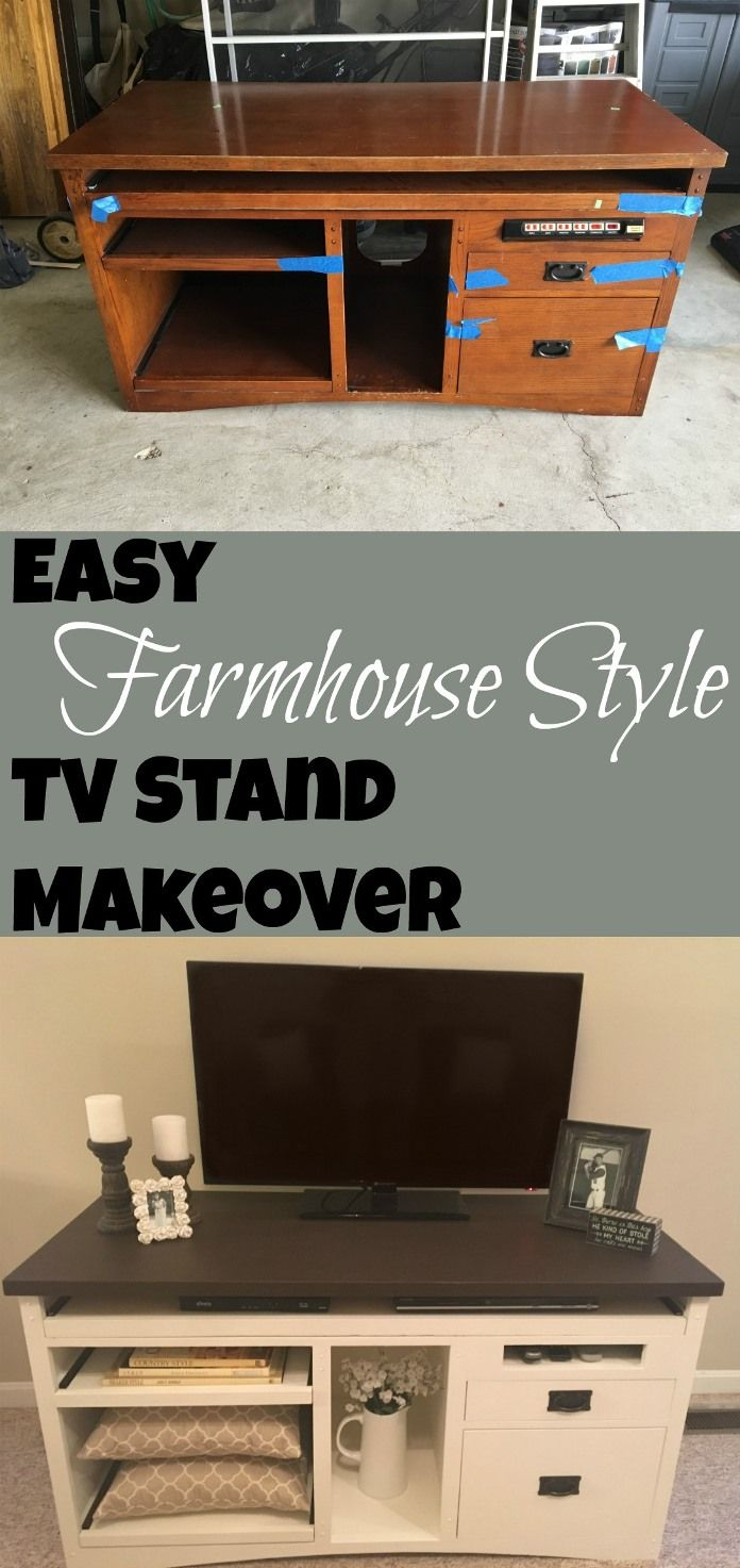 Easy Farmhouse Style TV Stand Makeover I Thrift Store Transformation I DIY Painted Furniture I DIY Media Console I Painted Wood
