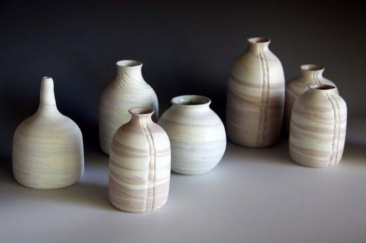 Striation Collection  bottles. http://www.rediscovering.com.au/portfolio-of-work/#/marbled-porcelain-striation-collection/