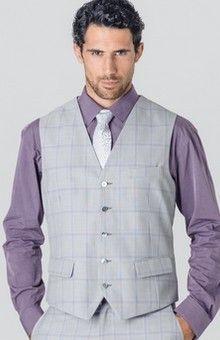 Veston de costume gris à carreaux mauve