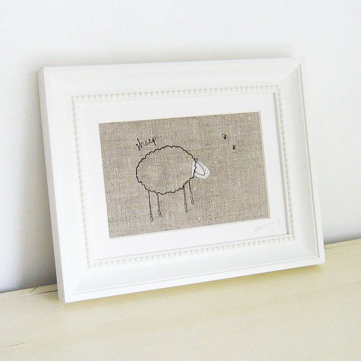 Embroidered Natural 'Sheep' Picture from notonthehighstreet.com