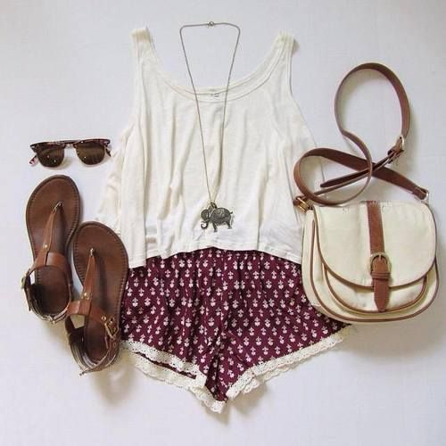 Printed shorts with loose blouse, leather bag and brown sandals find more women fashion ideas on www.misspool.com