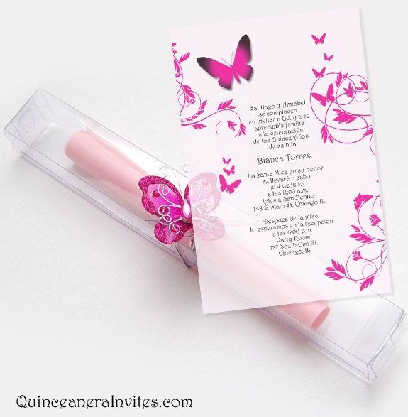 invitations for quinceaneras | ... Invitations Kit - Butterflies  Box Quinceanera Invitations, Quince