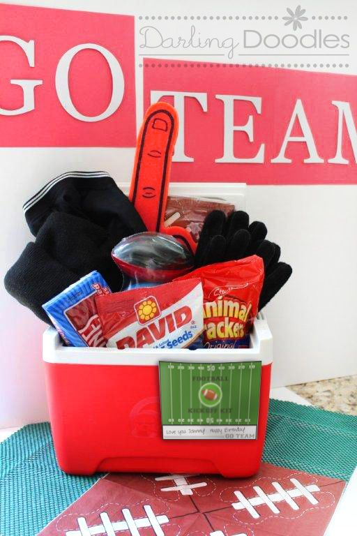 Super Bowl or Football Kit: Cute Gift for Husband or Favorite Guy: Cooler to hold everything   -Favorite team t-shirt or hat   -Gloves   -Foam finger   -Mini football   -Thermos   -Snacks   -Tickets to a game