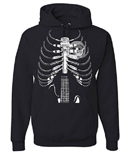 #Music #Guitar #Skeleton Rib Cage #Hoodie #MensTopSpot #eddiegworld
