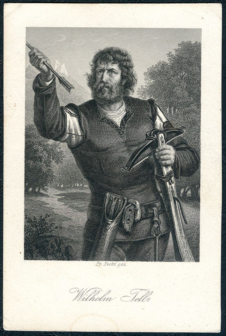 Friedrich Pecht gez, Schiller-Galerie, Friedrich von Schiller, Sammelbild, Stahlstich um 1859, Wilhelm Tell aus Wilhelm Tell, Johann Leonhard Raab