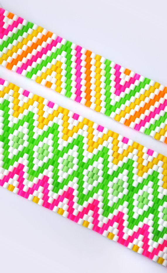 Hama bead weaving on minieco.co.uk    they are just so bright and cheerful!  and you can make baskets or cover flower pots with them...