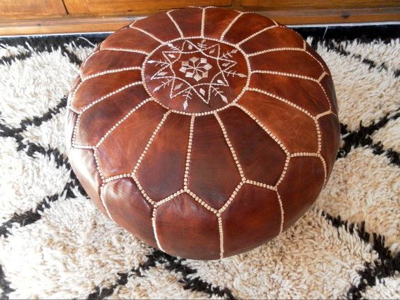 Pair of brown/tan MOROCCAN POUF :hand stitched / embroidered Natural brown tan