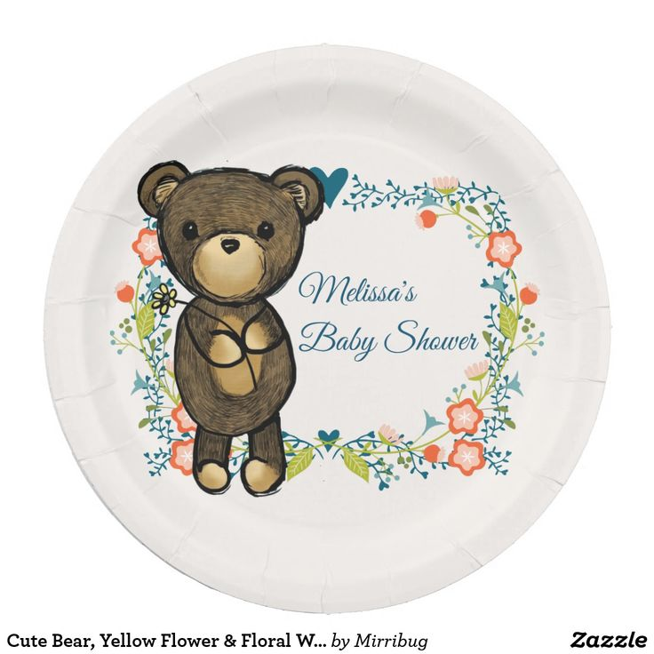 Cute Bear, Yellow Flower & Floral Wreath Paper Plate