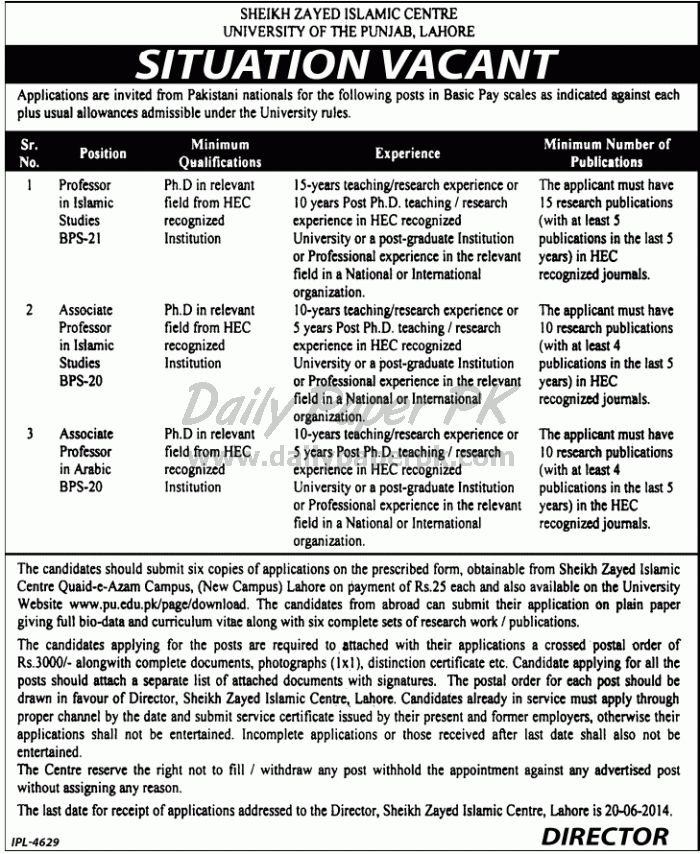 Jobs in Sheikh Zayed Islamic Centre University of The Punjab Lahore For details and how to apply: http://www.dailypaperpk.com/jobs/209873/jobs-sheikh-zayed-islamic-centre-university-punjab-lahore