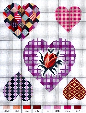 ♥ Cross-stitch Assorted Hearts