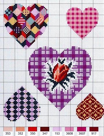 Patchwork hearts, rosebud