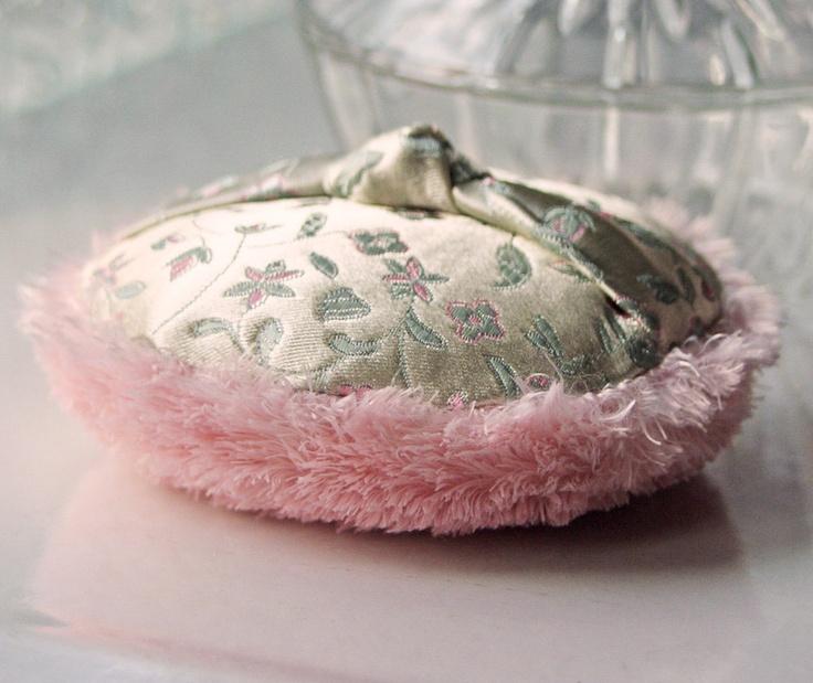 Dusting Powder Puff  SET  Sage and Pink by PowderPuffEmporium, $21.00