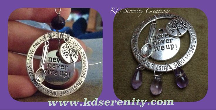 2 new Never Give Up Life of Fibro/Lupus pendant. For sale on my Etsy shop, KDSerenityCreations