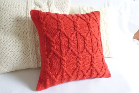 Hand knit cushion cover red poppy knitted pillow by Adorablewares, $35.00