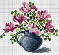 """Gallery.ru / 060317 """"Весенняя магнолия"""" - схемы вышивки """"Букетики"""" - pustelga"""