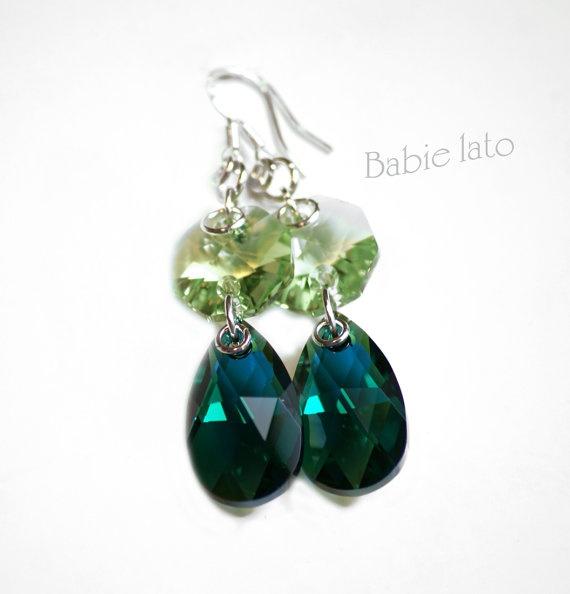 Elves' time  //  sapphire and green swarovski by ILoveIndianSummer, £28.00