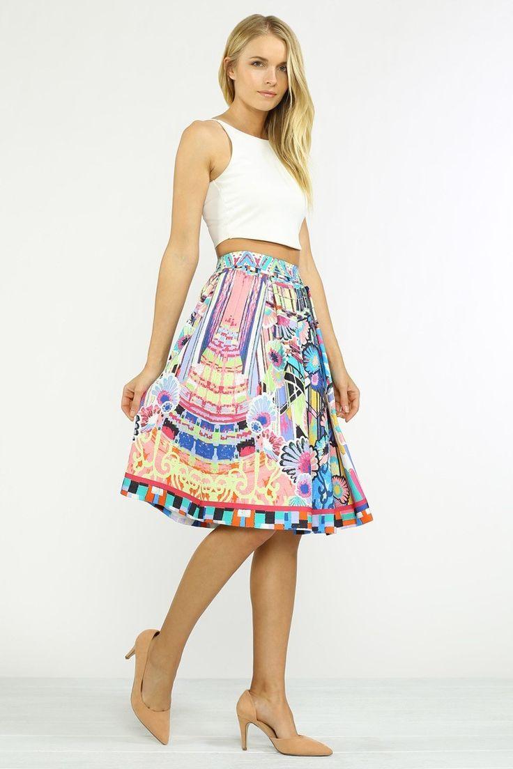 Mutlicolor Abstract Graffiti Print Midi Skirt