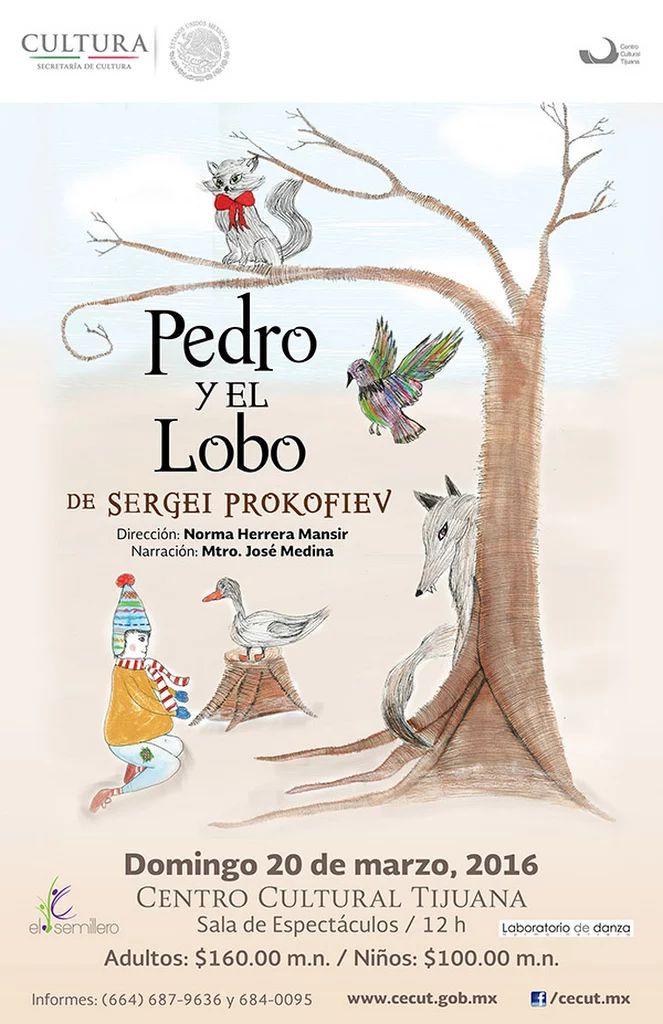 Pedro y el lobo con la participación de Laboratorio de Danza, narración por el Mtro. José Medina y la dirección de la Mtra. Norma Herrera.