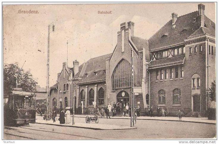 Graudenz Bahnhof Straßenbahn Tram Linie 4 SCHWAN Grudziądz