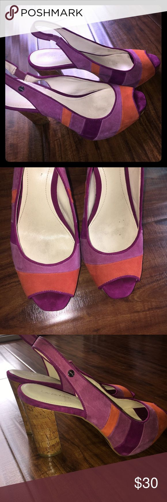 Calvin Klein sling back sandals Purple and orange suede sling back sandals. Size 9.5M Calvin Klein Shoes Sandals