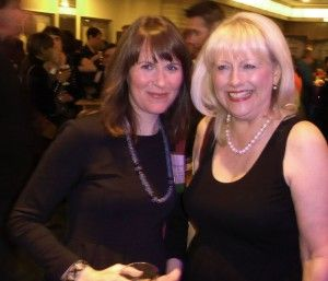 Meghan Marentette, author of The Stowaways, with her publisher Gail Winskill of Pajama Press, at the TD Gala for the Canadian Children's Book Centre Awards. November 2014