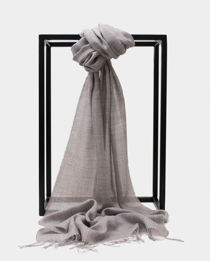 Szal Alpaka Jedbaw Exclusive Inti Szary Shawl Scarf Grey Gray 70% BABY ALPACA + 30% SILK Made in Peru