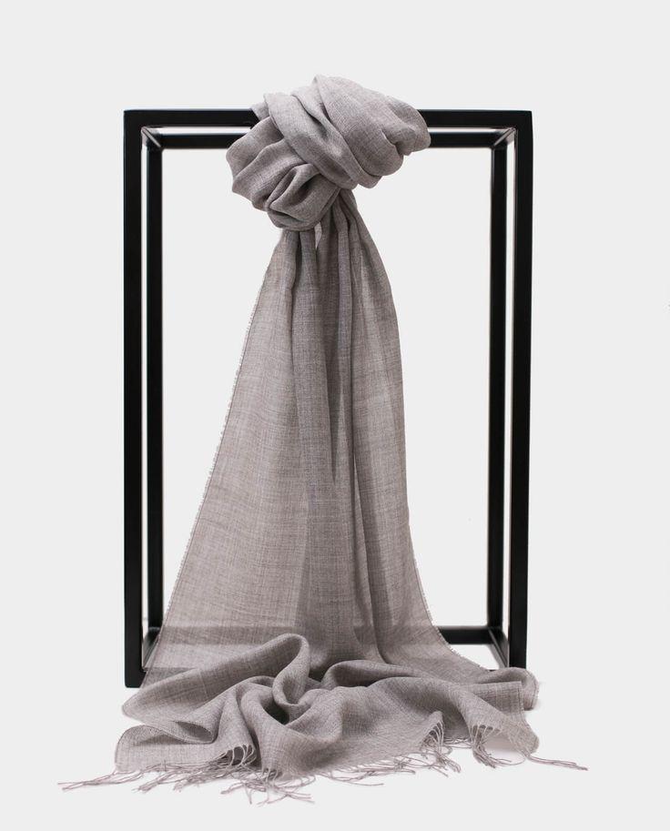 Szal Alpaka Jedbaw Exclusive Inti Szary Shawl Scarf Grey Gray 70% BABY ALPACA + 30% SILK Made in Peru
