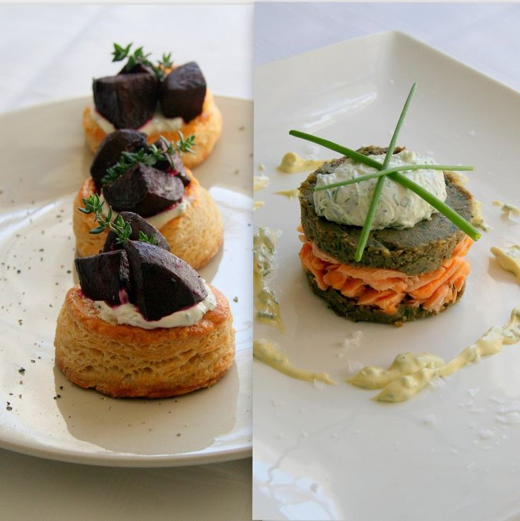 Cupcakes & Couscous : Caramelised Beetroot Tartlets with Salmon Trout & Lentil Stacks