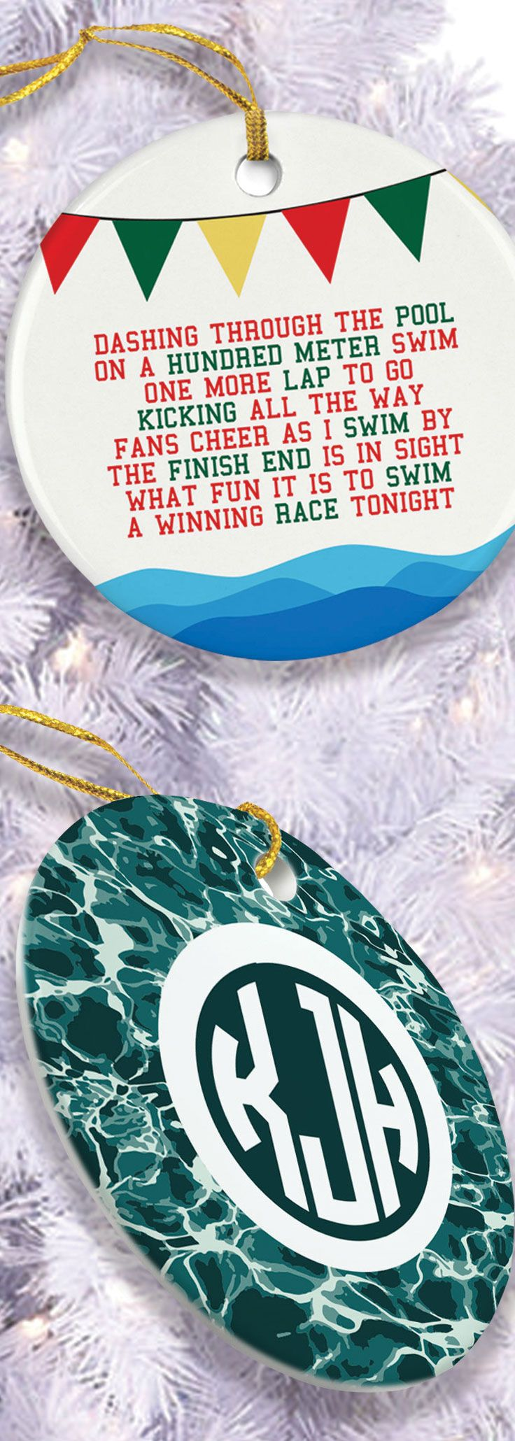 Who said Christmas comes once a year, with these ornaments you can display your Swim love all year long.