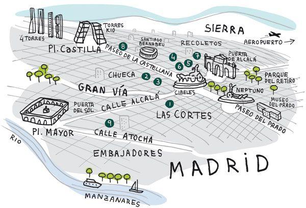 Client: Vanity Fair Description: Ilustración mapa de Madrid para la revista Vanity Fair, Junio de 2011 (Blog Santisallés)