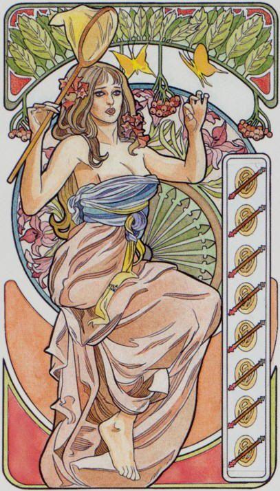 8 de bâtons - Tarot art nouveau par Antonella Castelli