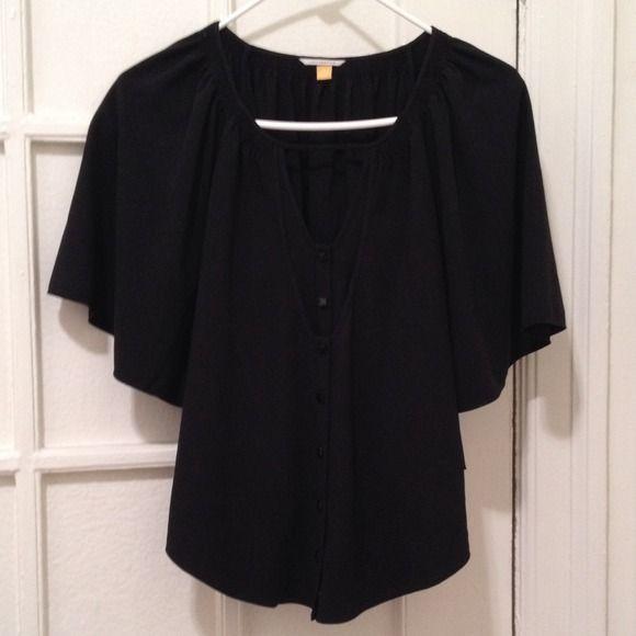 Leifsdottir Black Batwing Top 100% Polyester. Black peasant style top with bat wing sleeves. Anthropologie Tops