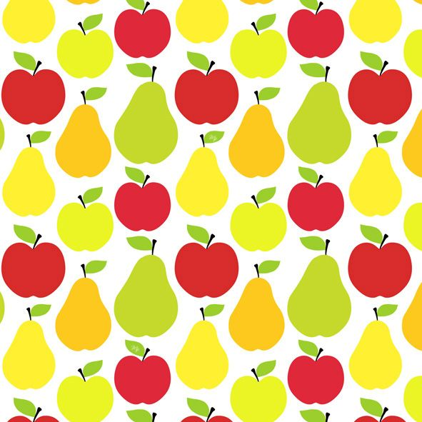 apple and pears pattern fashion illustration