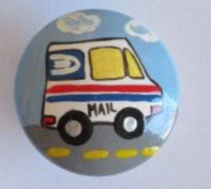Mail postal truck painted rock