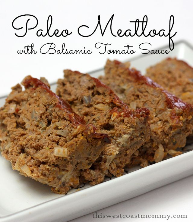 This easy paleo meatloaf recipe uses coconut flour and comes with a balsamic tomato sauce on top. Yummy!