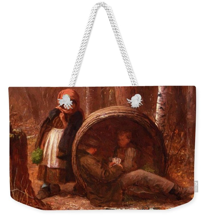 The Weekender Tote Bag featuring the painting The Eavesdropper 1866 by Johnson Eastman