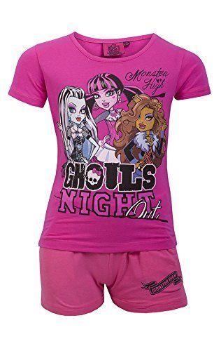 Monster Girls High Court Pyjamas Age 6 à 12 ans: Belle Monster High Pyjama Avec manches courtes Belle impression sur le devant de Top avec…